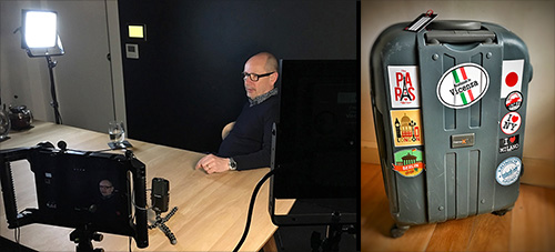 Photo of Vector Luminaire in use with interview with Mark Major and well-travelled luggage